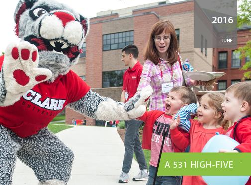The Clark Cougar with children at Alumni Weekend 2016, Clark University